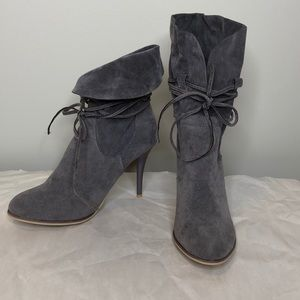 "Grey faux suede tied foldable  4"" heeled booties 8"